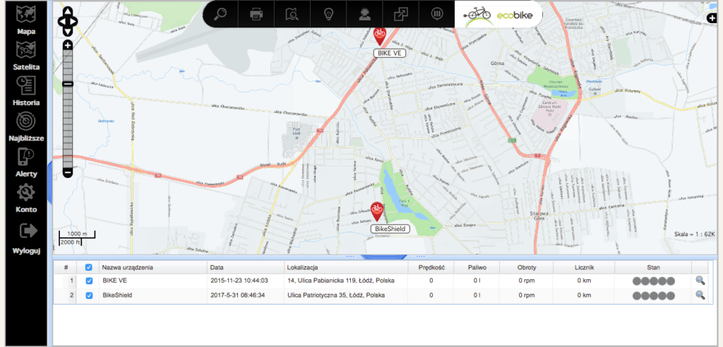 Monitoring GPS Shield.Bike V.4.4